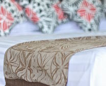 Close up of Studio Bed and quality linen at Ifiele'ele Plantation luxury, self-contained, vacation rental in Samoa